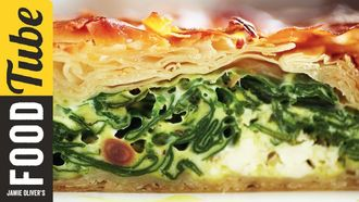 Feta and spinach filo pie: Jamie Oliver