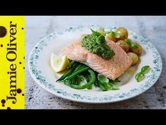 Salmon & pesto-dressed veg: Jamie Oliver