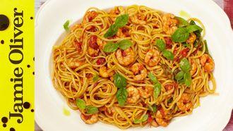 Sicilian prawn linguine: Jamie Oliver