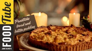 Christmas panettone bread and butter pudding