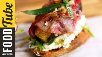 Pancetta, fig & cheese crostini: French Guy Cooking