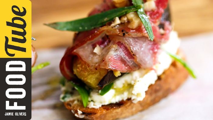 Pancetta, Fig & Cheese Crostini