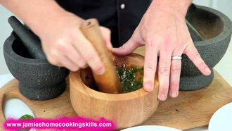 Using a pestle and mortar: Jamie Oliver