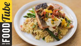 Pan-fried salmon with tomato couscous: Jamie Oliver