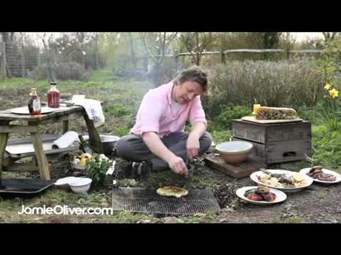 BBQ flat bread with wild garlic dressing: Jamie Oliver