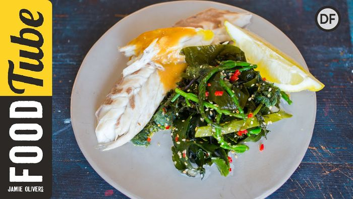 Baked sea bass with Asian greens: Jamie Oliver & Bart's Fish Tales