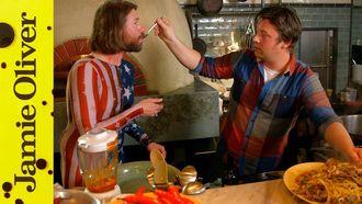 Spaghetti vongole with squid: Jamie Oliver & DJ BBQ